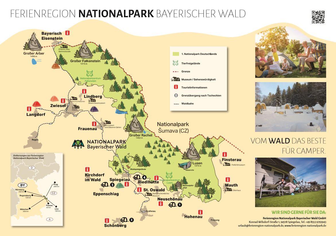 Nationalpark Bayerischer Wald Karte.Die Campingkarte Der Ferienregion Ist Da