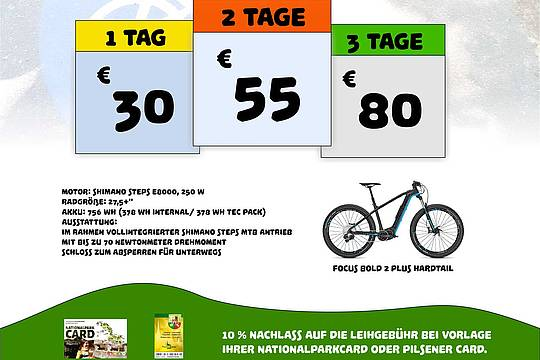 Plakat E-Bike-Verleih Mauth-Finsterau 2019